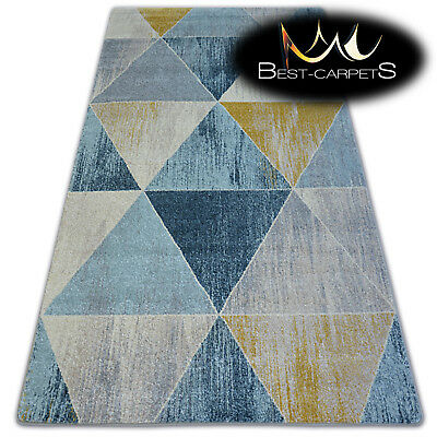 """AMAZING THICK MODERN SOFT RUGS """"NORDIC"""" blue grey triangles floor carpet"""