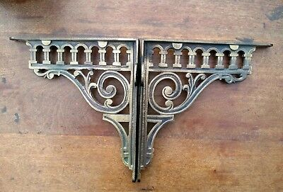 Architectural Antiques PAIR SMALL VICTORIAN STYLE CAST IRON SIMPLE BRACKETS SHELF BRACKET CISTERN  V1 Hooks, Brackets & Curtain Rods