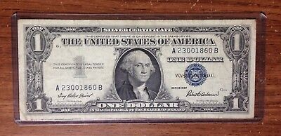 1957 Series $1 Silver Certificate Circulated w/Top Loader