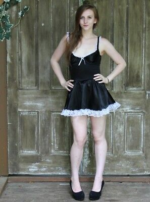 Vintage 80s Fredericks of Hollywood Black Lace Nightie French Maid Lingerie S