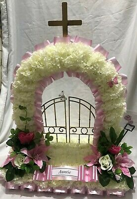 Artificial Silk Funeral Flower Gates of Heaven Wreath Memorial Tribute Mum Dad