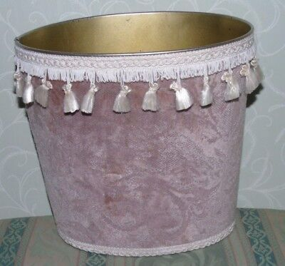 Vintage Waste Paper Bin Pale brown fabric covered - with tassels - oval shape