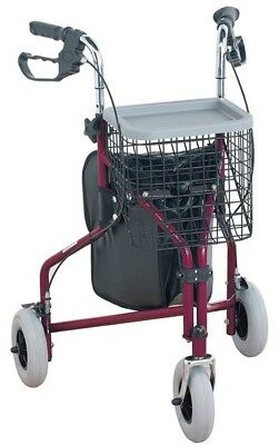 Tri-Wheel Walker in Red - Height adjustable, bag with basket and tray