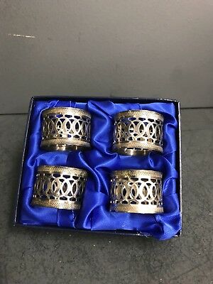 Antique Vintage Boxed Quality Silver Plated Napkin Rings - Gorgeous Ornate