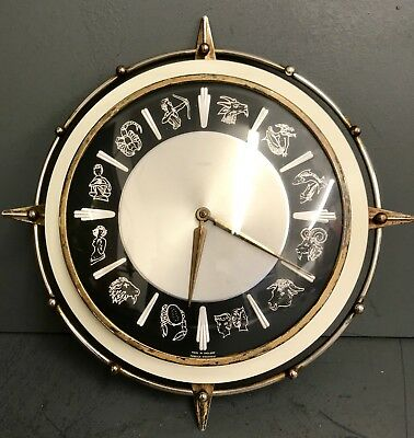 Vintage Metamec Zodiac Star Sign Wall Clock Retro 1960s Clock Work - Working