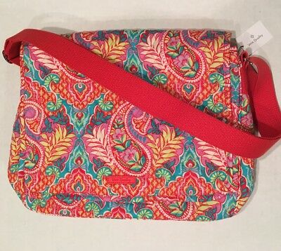 9aa36c98f7b2 Vera Bradley MESSENGER Paisley in Paradise Quilted Campus Crossbody  Shoulder Bag