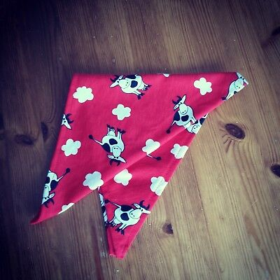 New - cotton scraf - boys - red - cows - triangle - free delivery