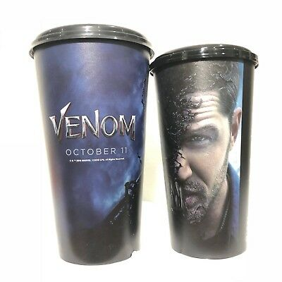 2Pcs Venom Movie 2018 Marvel Tom Hardy Plastic Cup Cinemas Theatres