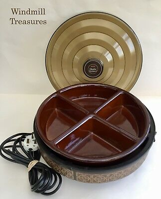 Vintage Ecko Hostess Electric Heated Food Warmer Carousel Divided Lazy Susan