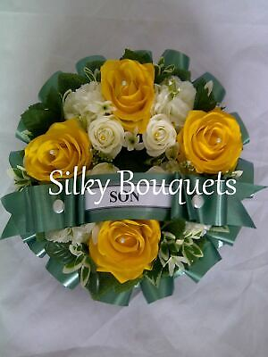Artificial Silk Funeral Flower Wreath Ring Tribute Memorial Floral Graveside
