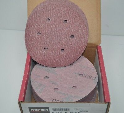 """Box of 100 Carbo Premier Red P800 6"""" Dri-Lube Grip-On 6-Hole Sanding Discs 20319"""
