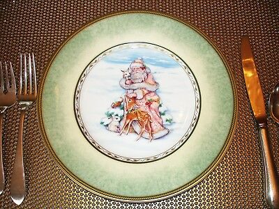 Fitz & Floyd Winter Holiday Santa Portrait Christmas Salad Plate(S) - New
