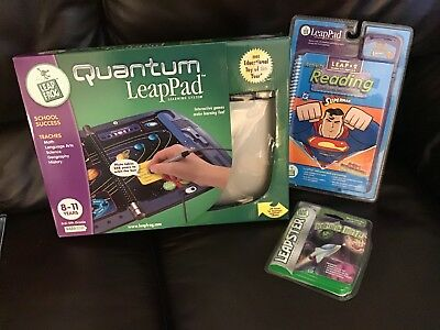 LeapFrog Quantum Leap Pad System New 8-11 Yrs 3rd-5th Grade And 2 New Cartridges