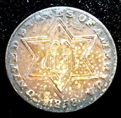 1858 Type 2 Large Star Three Lines Three Cent Silver Monster Toned