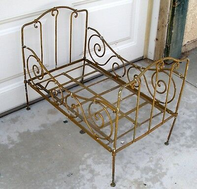 Antique Wrought Iron Folding Doll Baby Bed Late 1800s early 1900s 24x14.75x18.75
