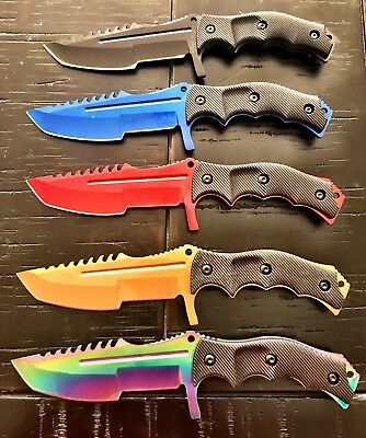 "(5) 8.5"" COUNTER-STRIKE CSGO TIGER HUNTSMAN KNIFE Hunting Bowie Survival 9036"