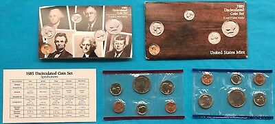 1985 UNCIRCULATED COIN SET w/ P+D MINT MARKS