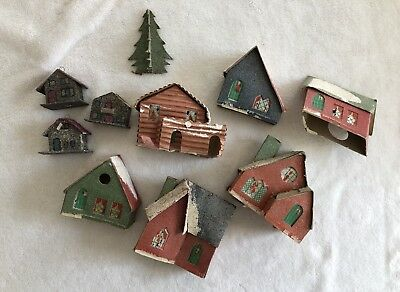 Vintage Christmas Putz Paper Mica Houses Made In USA And Japan Lot Of 10 Pieces