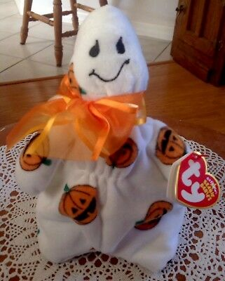 TY GHOULISH the HALLOWEEN GHOST BEANIE BABY Jack-O-Lanterns 2006 MINT w/ TAGS