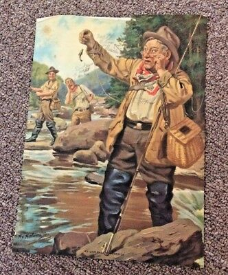 "VINTAGE FISHERMAN PRINT  ""AN UNPLEASANT SURPRISE""  by HY. HINTERMEISTER"