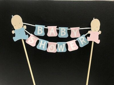 c45f013e5 BABY SHOWER GIRL Boy Pink Blue Washing Line Bunting Cake Topper Non ...