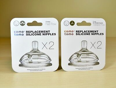 Comotomo Replacement Silicone Nipples Two Pack in Fast Flow or Variable Flow