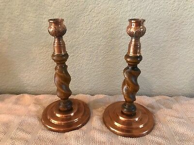 PAIR Antique Oak Barley Twist Candlesticks Candle Holder Copper bases & cups