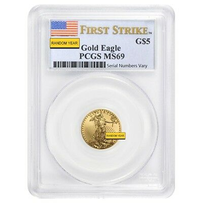 1/10 oz $5 Gold American Eagle PCGS MS 69 (Random Year)