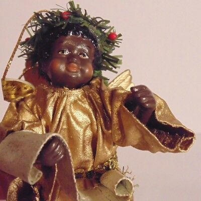 Possible Dreams Clothtique Angel Gold Ornament African American Black 5""