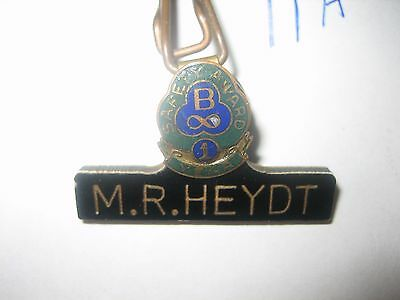 Vintage Bus Truck Company Driver Name Tag Badge 1 Year Safe Driver Pin Letter B