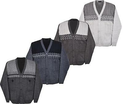 New Men's Knitted Cardigan V Neck Full Front Button Closure 3XL to 6XL