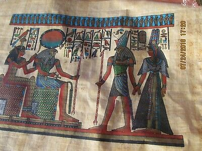 """Rare Authentic Hand Painted Ancient Egyptian Papyrus 13""""x17"""" HORUS , SON OF ISIS"""