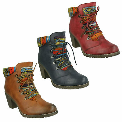 3b6772b8e2e49 Ladies 95323 Rieker Mid Block Heel Lace Zip Up Warm Lined Winter Ankle Boots