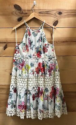 a20000bd2381 RANNA GILL KALILA White Floral Halter Fit And Flare Dress Sz S ...