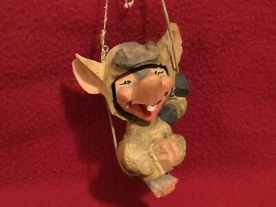"""Vintage Henning Norway Hand Carved 4"""" Wooden """"Troll on a Swing"""" Figurine"""