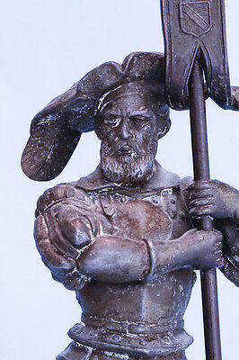 Antique Spelter Metal Statue of French France Cavalier Soldier