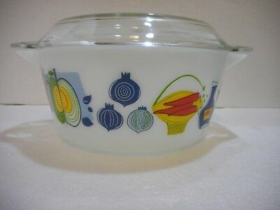 VINTAGE PYREX JAJ FIESTA VEGETABLE CASSEROLE + FREE LID   VGC  Made in England