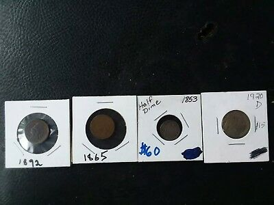 Coin Lot of 4, half dime,  2 Indian head penny's and a semi/key buffalo nickel
