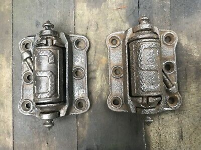 Pair Antique Working Cast Iron Screen Door Hinges by Stover