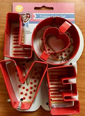 wilton love metal 4 piece cookie cutters wedding shower party new gift