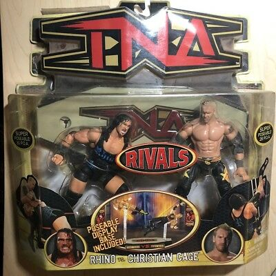 Tna Rivals Rhino Vs Christian Cage Marvel Toys Wrestling Figures Roh