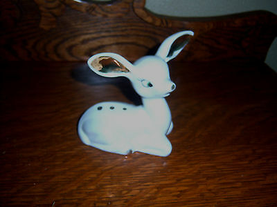 Rare Htf  Rossini Adorable Vintage   60's  Fawn Deer  Figurine White  Gold Tone