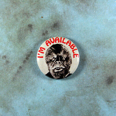 """Vintage Style Funny Art Pinback Button 1"""" Wolf Man Werewolf I'm Available Horror"""