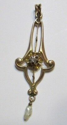 Antique Vintage 10K Yellow Gold Diamond Seed Pearl Lavalier Missing 2 Pearls