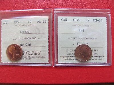 Pair of Canada ICCS Small Cents, 1979 MS-65 and 1965 PL-65