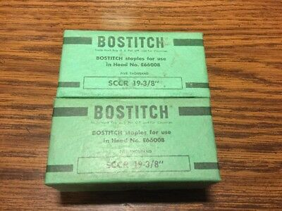 "Vintage Bostitch SCCR 19 3/8"" Staples. Two 5000 Count Boxes Made In USA"