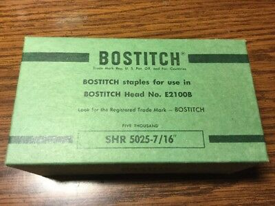 "Bostitch SHR 5025 7/16"" 5000 Ct Box For Head #E2100B Made In USA FREE SHIPPING"
