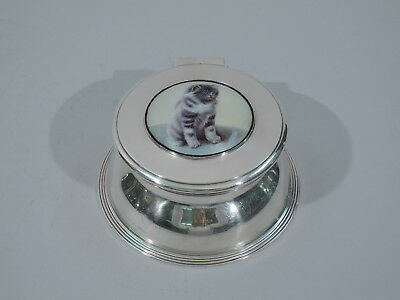Edwardian Inkwell - Cat Ink Well - English Sterling & Enamel - 1906