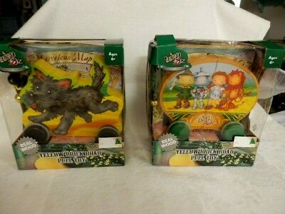 TWO New in Boxes Wizard of Oz 75th Anniversary Wood Pull Toys- Characters-Toto !