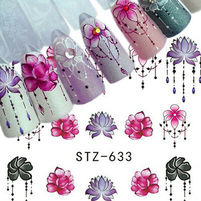 40 Sheets Nail Art DIY Water Transfer Sticker Flower Decals Manicure Decor Tips